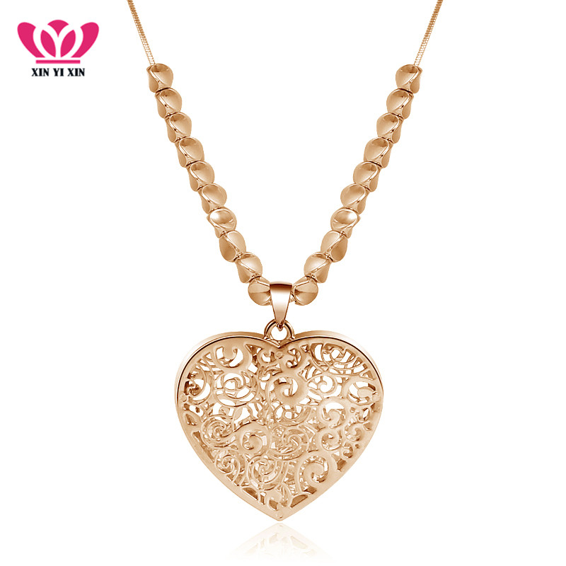 Trendy Long Bead Retro Hollow Heart Jewelry Pendant Necklace Sweater Chain