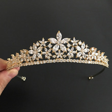 2017 New Arrival Stunning Vintage Gold Clear Cubic Zircon Wedding Tiara CZ Bridal Queen Princess Pageant Royal Party Crown