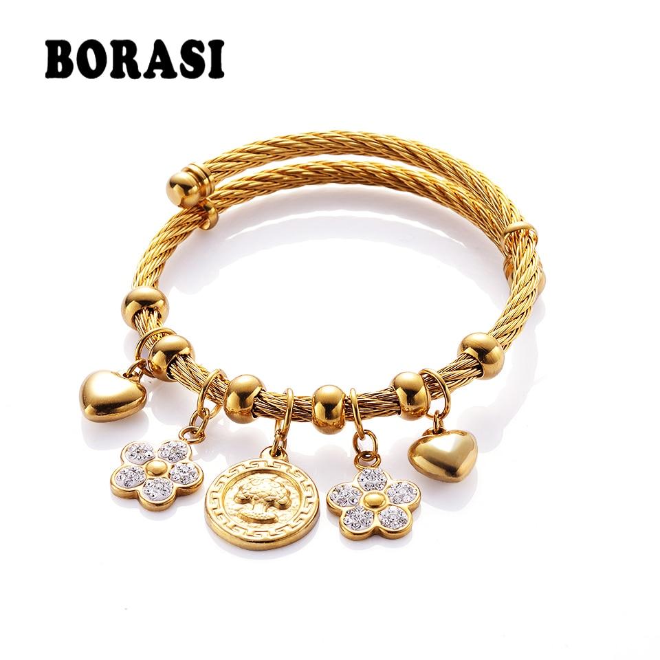 цена на BORASI Crystal Bracelet Wishing Tree Flower Heart Pattern Stainless Steel Bracelets & Bangles For Women Party Jewelry