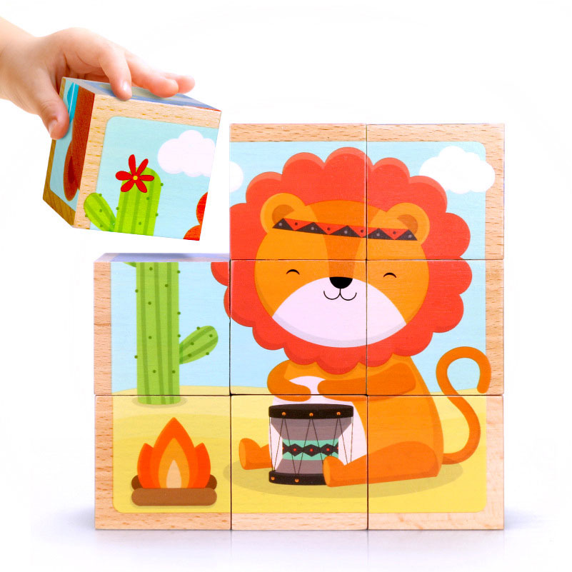 Montessori Materials Sensorial Cartoon Animal Hexahedron Puzzle Montessori Geometric Puzzle Educational Toys For Kids Uc2364h Strong Resistance To Heat And Hard Wearing Home