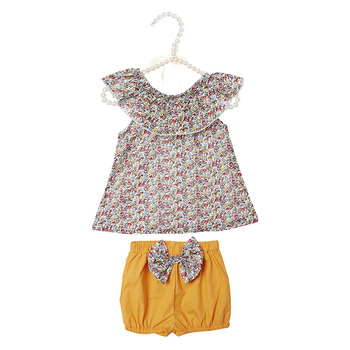 Kaiya Angel Baby Children Girls Outfits Floral Turn-Down Collar Top + Mustard Yellow Pants with Floral Bow 100% Cotton Clothes