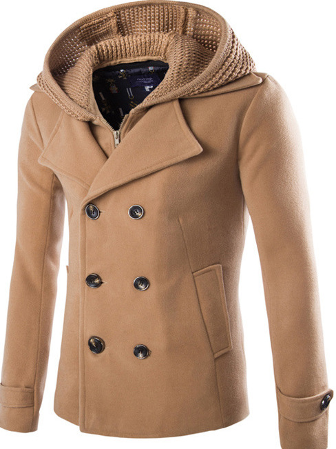 Wool cap removable men's self-cultivation coat double-breasted jacket XC18D116