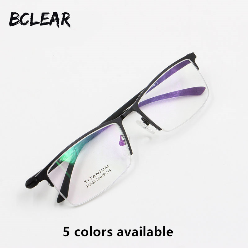 9292d02ca BCLEAR جديد وصول البصرية إطار شبه بدون شفة النظارات الطبية سبائك نصف إطار  النظارات الأعمال الرجال إطار مشهد