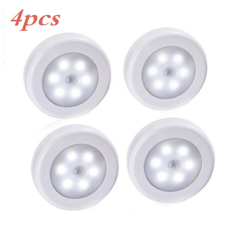 4pcs Body Motion Sensor 6LED Wall Lamp Night Light Induction Lamp Corridor Cabinet led Search Lamp home electronic accessorie