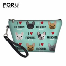 FORUDESIGNS French Bulldog Prinitng Cosmetic Cases Women Travel Necessity Ladies Make Up Box for Girls Cute Pencil Storage Bolsa