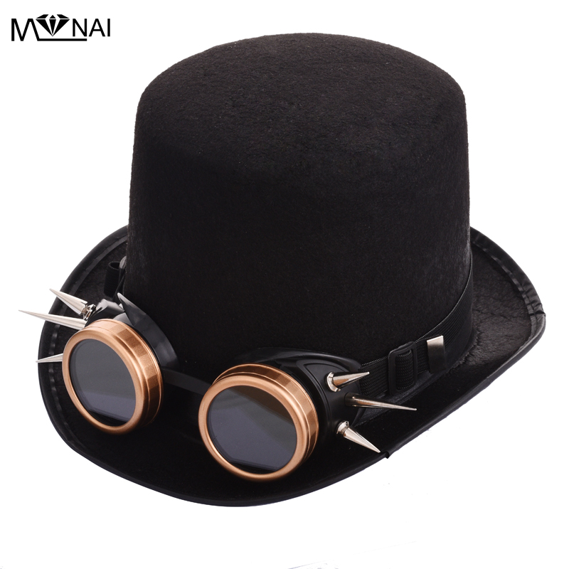 Quality Unisex Steampunk Top Hat Goggle Feather Halloween Cosplay Dress up Party