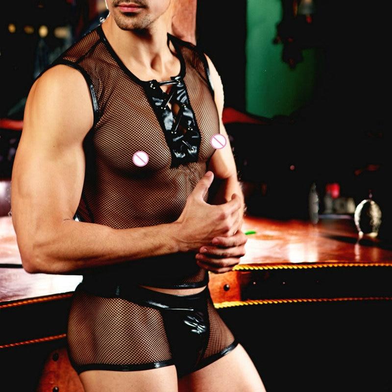 Sexy lingerie butler waiter costume fishnet tops transparent short black porno clubwear sexy underwear 9837