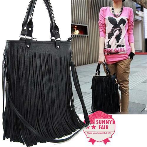 Las Lydc Celebrity Style Bag Punk Fringe Double Tassel Shoulder Tote Handbag