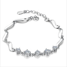 TJP Shiny Cubic Zirconia Female Bracelets Anklets Charm Silver 925 For Women Bride Wedding Anniversary Party Bijou