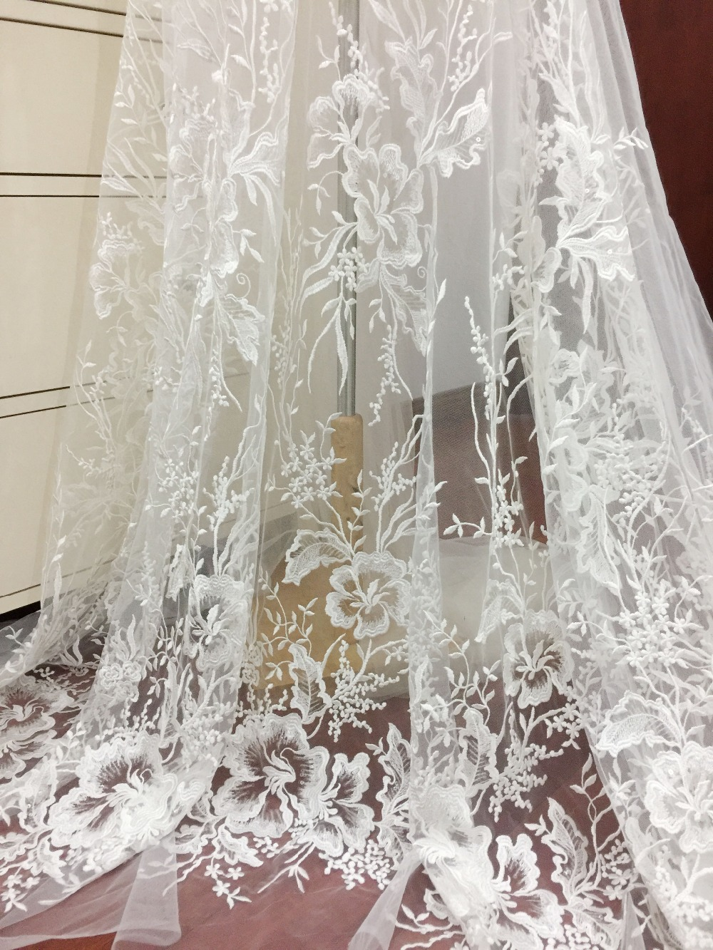 Aliexpress Com Buy 1 Yard Clear Sequin Tulle Floral
