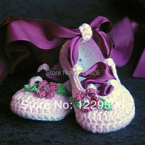 Hot Sale Baby hæklet ballet sko bånd blomst blad rhinestone første walker sko mix design brugerdefineret