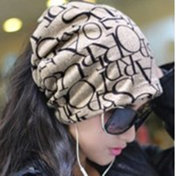 Miya Mona 2017 Newest Fashion Korean Women Classic Hip-Hop English Letter Multi Purpose Baggy Hat Unisex Scarf Beanie Spring Hat