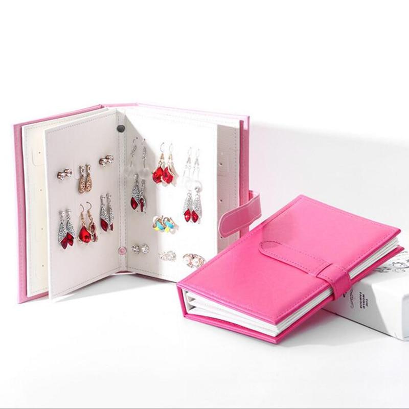 Hot Sale Women Stud Earrings Collection Book PU Leather Earring Storage Box Creative Jewelry Display Holder Jewellery Organizer