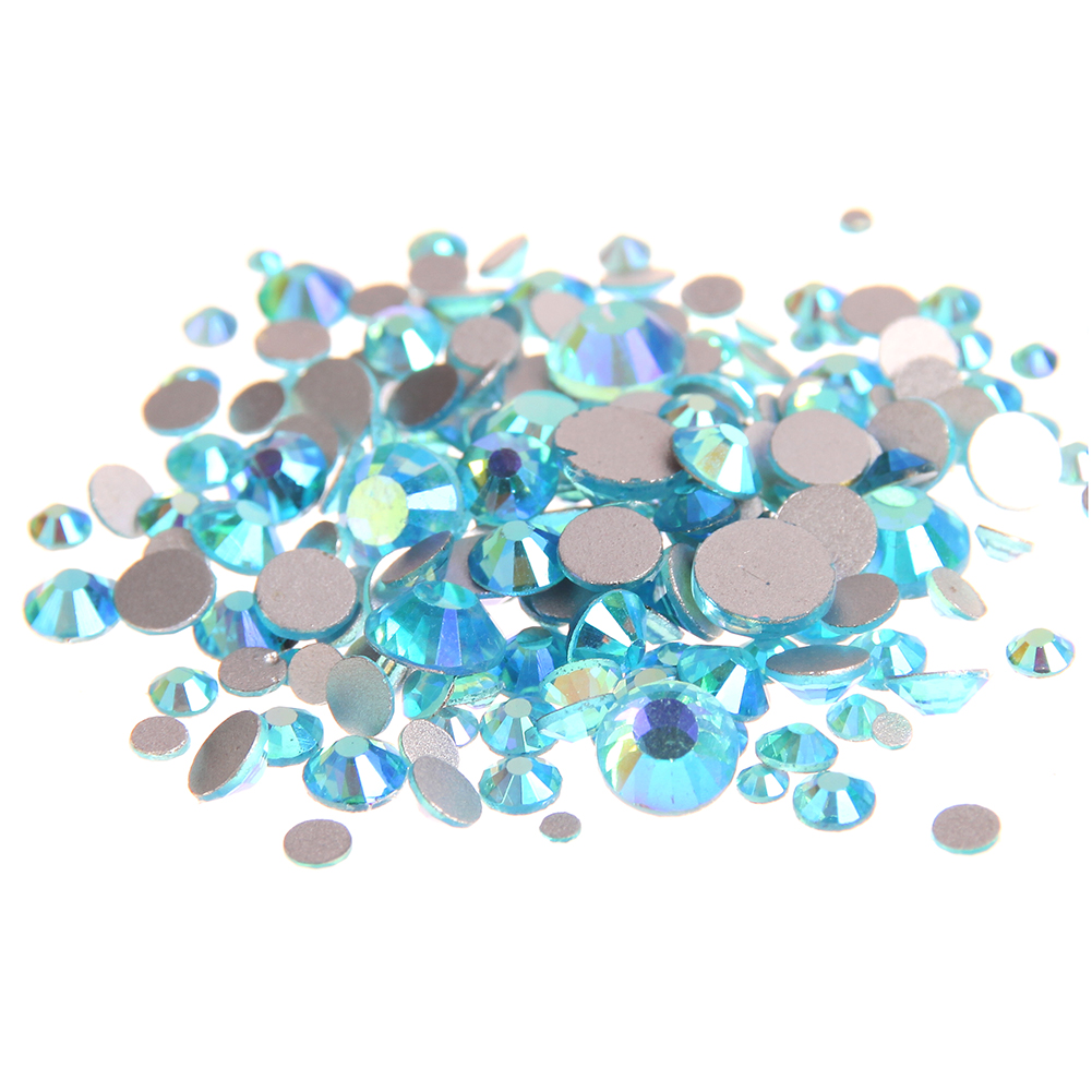 Aquamarine AB Non Hotfix Crystal Rhinestones Facets Flatback Glue On Strass Diamonds Glass Chatons DIY Crafts Garments Supplies