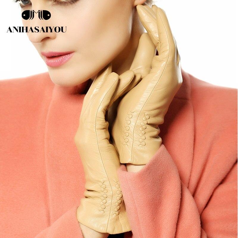 Women genuine leather gloves warm winter gloves women grape pattern embroidery driving sheepskin short touch gloves - L013N