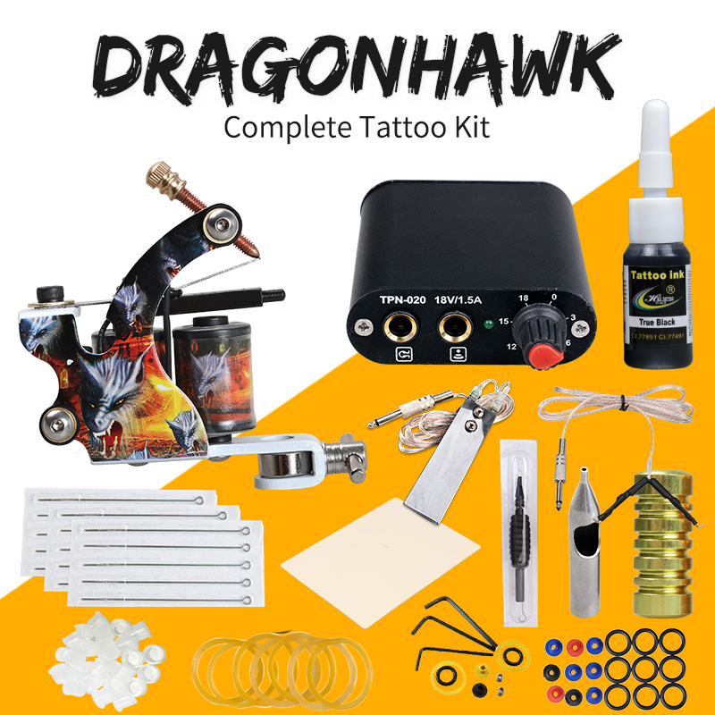 Beginner Complete Tattoo Kit Machine Guns Inks Needles Tattoo Power Supply