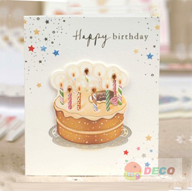 1pc/lot Size:7.5x 9cm,Cute small Birthday cards, greeting cards with envelope,  MIX designs,Wholesale price (SS-3011-3)