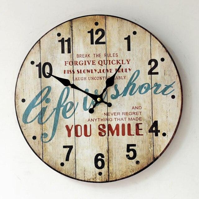 Life Is Short Vintage Wall Clock Horloge Murale Large Silent Living Room Watches