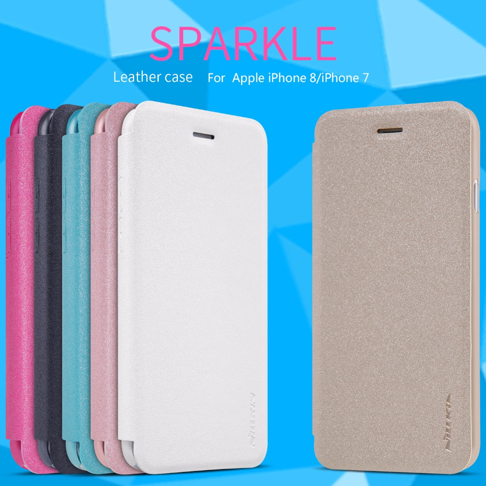10pcs/lot Wholesale NILLKIN Sparkle PU Leather Flip Cover Plastic Back Cover for iphone 8 Phone Cases