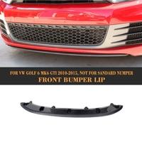 Car Front Bumper Lip Spoiler For Volkswagen VW Golf 6 MK6 GTI 2010 2011 2012 2013 Black FRP Carbon Fiber Car Spoiler Lip