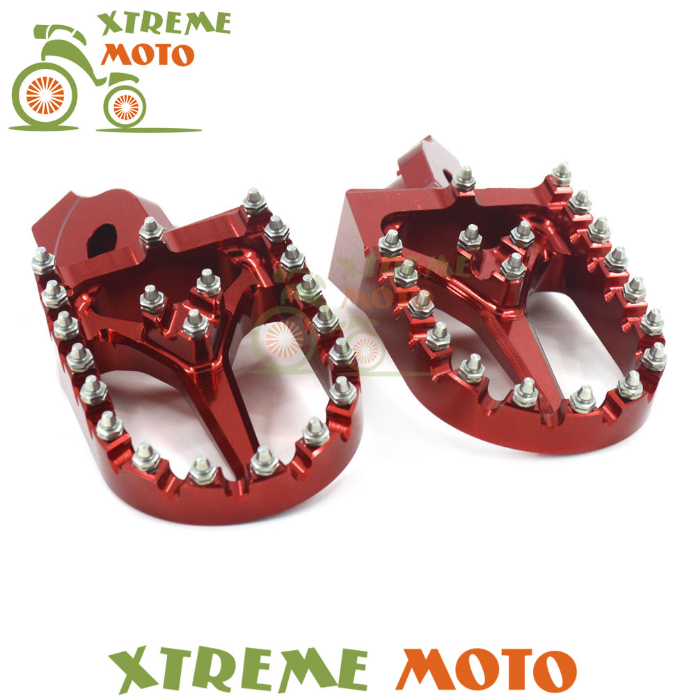 Red CNC MX Wide Foot Pegs Rests Pedals For Suzuki RMZ 250 450 RMZ250 2007-2009 RMZ450 2005-2007 Motorcycle Supermoto Racing цена