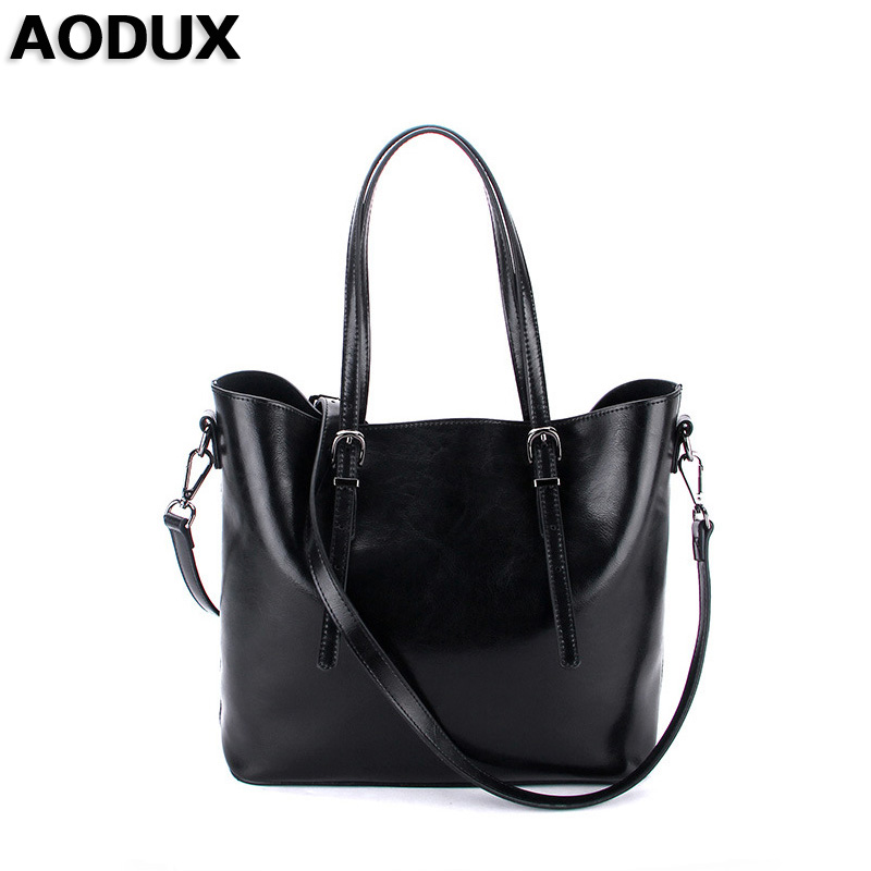 AODUX 2018 Famous Brand Women's Shopping Bags Female Genuine Leather Woman Ladies Second Layer Cow Leather Shoulder Handbag aodux 2018 new famous brand women tote shopping bags female genuine leather woman second layer cow leather shoulder shopping bag