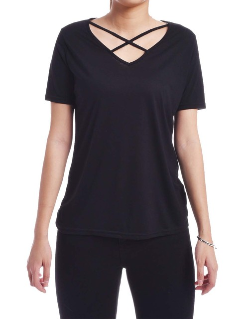 82888ac3bd1bb3 Women Casual Summer Tops V Neck Short Sleeve Shirt Crisscross Front Black  Top Tees Ladies Blusa