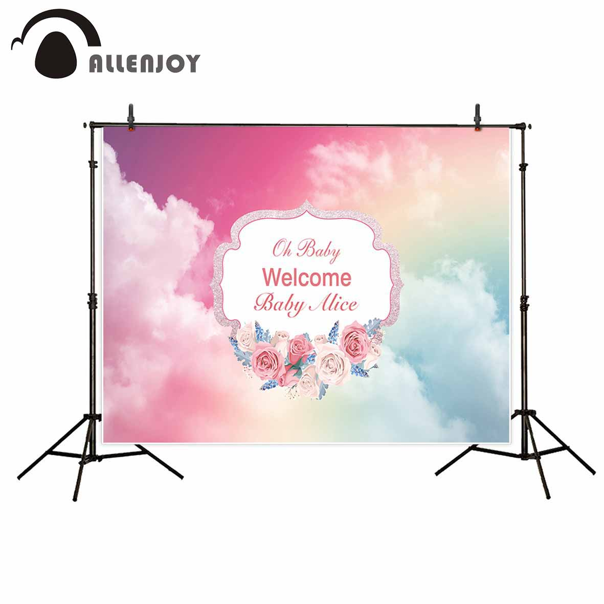 Allenjoy new photography theme background Pink Cute Flower Child Birthday Custom photography backdrops photo studio props 3 5m vinyl custom photography backdrops prop nature theme studio background j 066