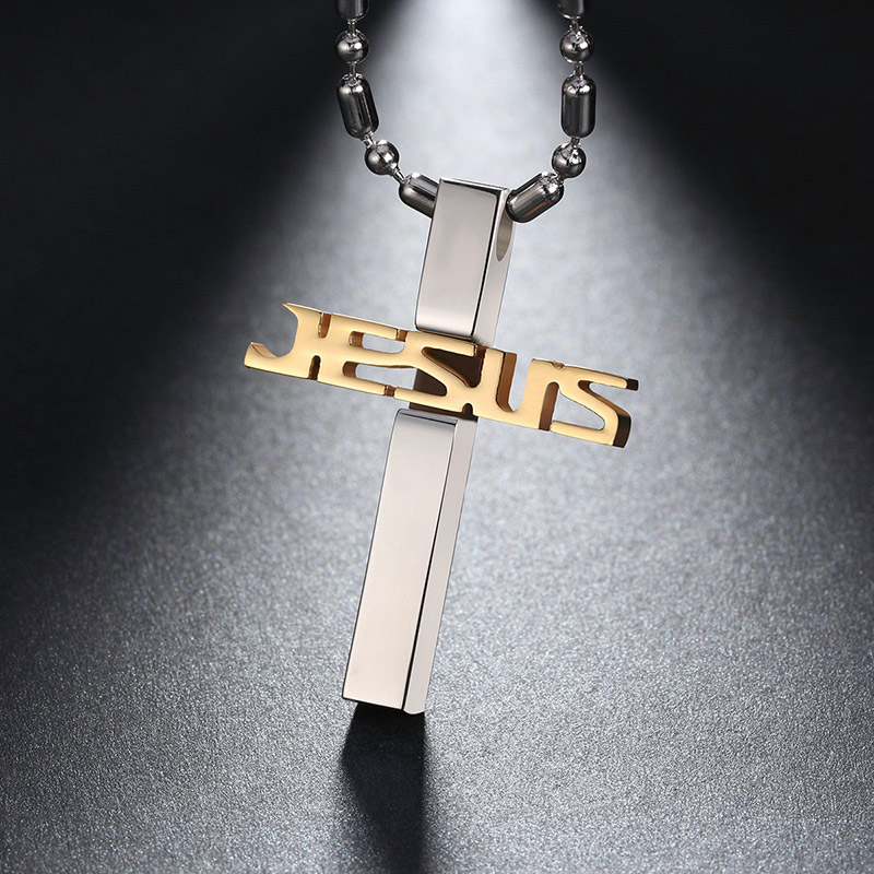 KISS MANDY 316L Stainless Steel Cross Pendant Necklace for Men Jesus Religious Necklace Jewelry Male Collar FN03