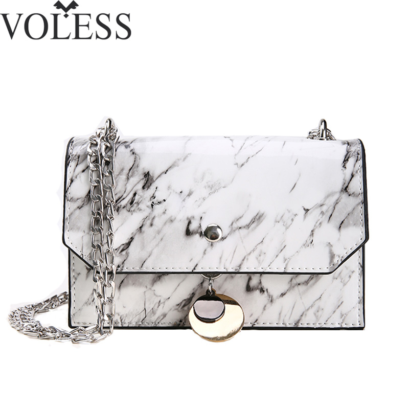 VOLESS 2018 New Summer Fashion Women Crossbody Bags Marble Pattern Women Shoulder Bags Ladies Chains Handbags Girls Flap Bags