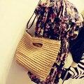 New Fashion Straw Handbags Summer Woven Beach Shoulder Totes For Women Casual Shopping Handbag Straw Beach Bags Travelling Purse