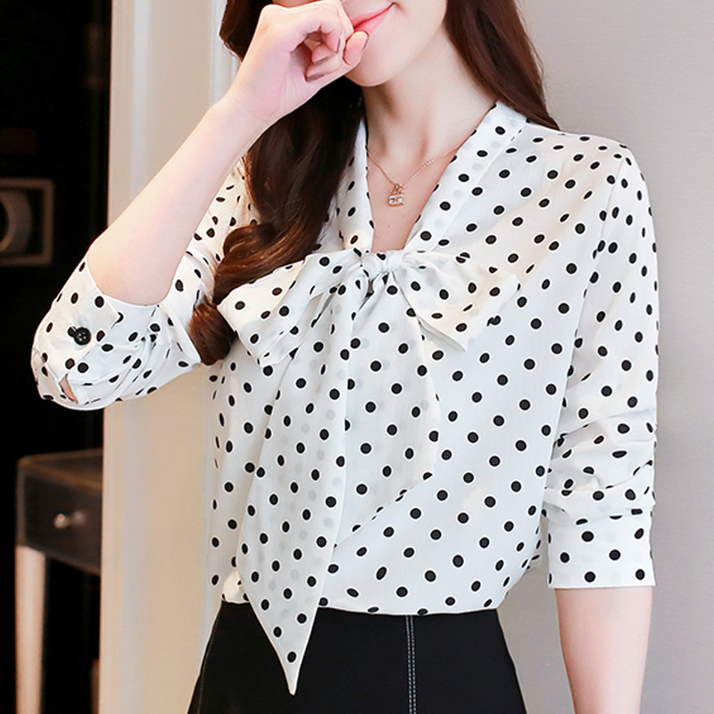 Black White V neck Long Sleeve Belted Polka Dot Blouse Shirt 2019 New Autumn Casual Feminine Bow Tie Women Tops 808E