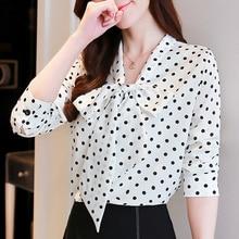 цены на Black White V neck Long Sleeve Belted Polka Dot Blouse Shirt 2019 New Autumn Casual Feminine Blouse Bow Tie Women Tops 808E  в интернет-магазинах