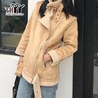 THYY Motocycle Suede Leather Jacket Lamb Wool Warm Winter Coat Femme Slim Outwear Black Khaki Faux