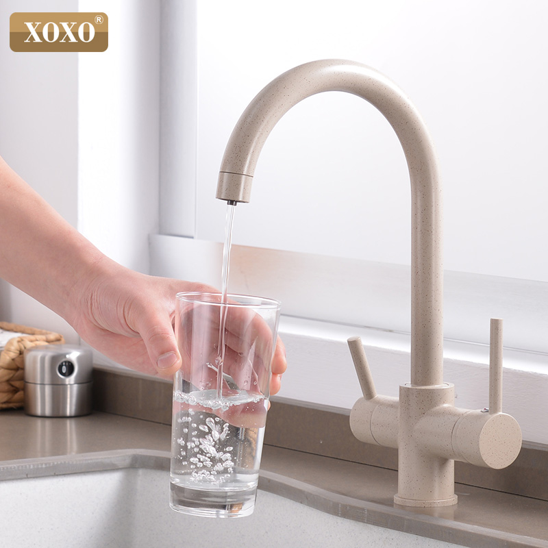 XOXO Filter Kitchen Faucet Drinking Water Chrome Deck Mounted Mixer Tap 360 Rotation Pure Water Filter