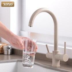Grifo de cocina con filtro XOXO para agua potable, grifo mezclador cromado montado en cubierta, grifo mezclador con rotación de 360, filtro de agua pura, grifos de fregadero de cocina 81038