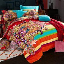 Новый оранжевый синий 100% хлопок шлифовальный набор постельного белья с цветочным принтом Роскошная королевская кровать простыня набор пододеяльник наволочка Королева Король 4 шт