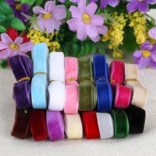 Breite 10mm Zufallsmischfarbe 12 Farbe Einseitig Glitter Samtband Für Haar Bogen Hochzeit Dekoration Geschenkverpackung Appliques