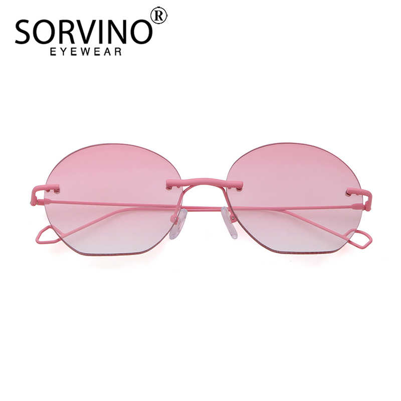 56f0f450e3252 ... SORVINO Vintage Rimless Crystal Round Sunglasses Women Luxury Brand  Designer Retro Blue Pink Circle Rave Sun ...