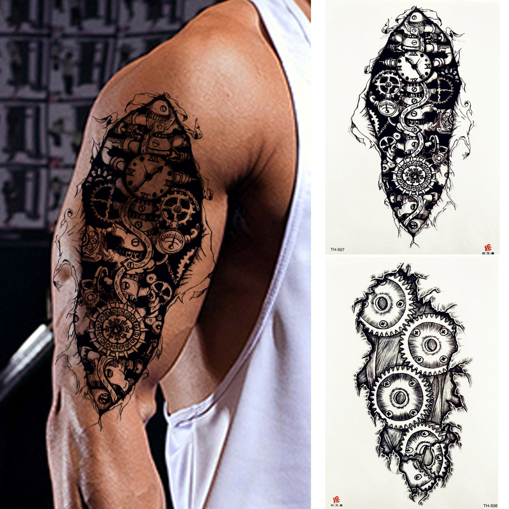 1 Piece Tattoo Sticker Robot Machine Gear Pattern Temporary Full