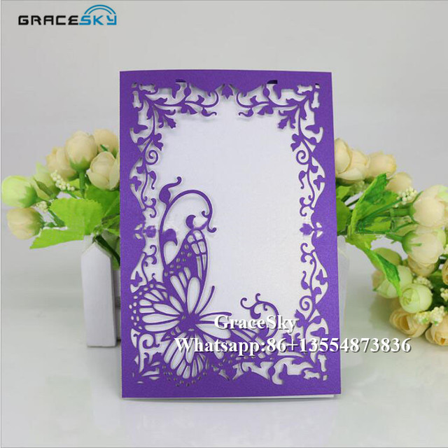 50pcs free shipping laser cutting flowers and butterfly design 50pcs free shipping laser cutting flowers and butterfly design paper invitation cards with inner blank paper junglespirit Choice Image