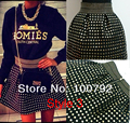 2 Style New 2016 Spring Woman Sexy Studdeed Rivet Bandage Ball Rivet High Waist Elastic Gown Short Skirt