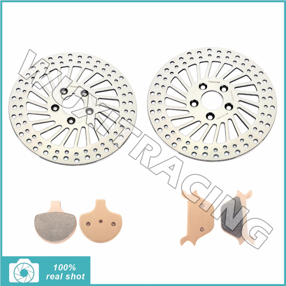 Front Brake Discs Rotors & Pads for HARLEY Sportster 883 1100 1200 XLH FLSTC FLSTF FLSTS FXST FXSTS 1340 Fat Bad Boy Softail 90 цена и фото