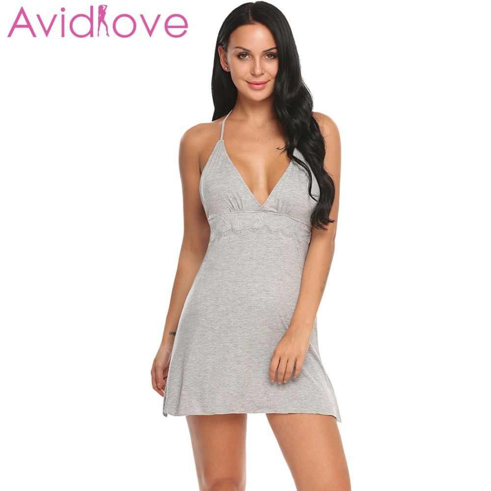 c859891f0bf4 Avidlove Women Sexy Lace Simple Nightgown Sleepwear Solid Slim Chemise  Nightwear Nightie Lingerie Sexy Babydoll For