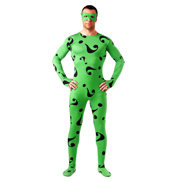 2018 New adult Carnival Clothing Green Question Mark Zentai Full Body Lycra Tights Unisex Spiderman helloween cosplay costume