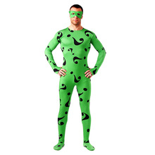Adult Carnival Clothing Green Question Mark Jumpsuits Zentai Full Body Lycra Tights Unisex Spiderman Helloween Cosplay Costume