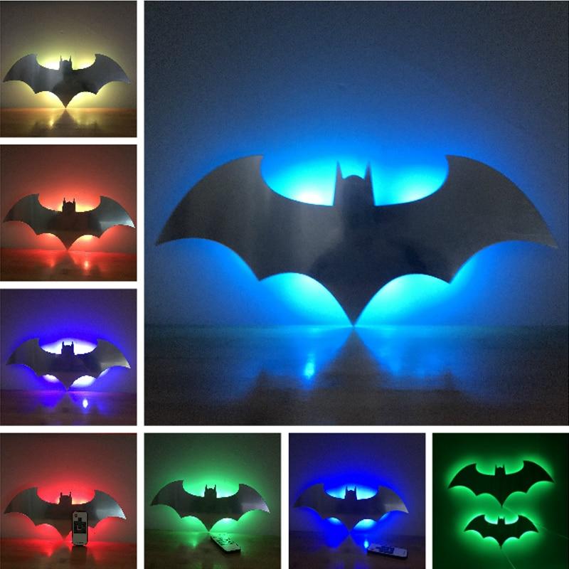 2018 Hero Batman Bat Wall Night Light Lampara Shadow Projection Lamp Child Kids Toy Gifts Warm Light Sensor Contrller Multicolor