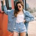 Mulheres Denim Jaquetas E Casacos Streetwear Estilo Outono E Inverno Solto Plus Size Top Senhora de Grandes Dimensões Jaqueta Jeans Atacado