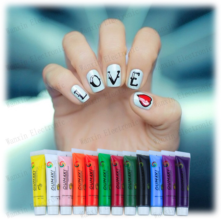 1 SET 12 Colors Painting Acrylic 3D Nail Art Paint Tube Draw Newest ...