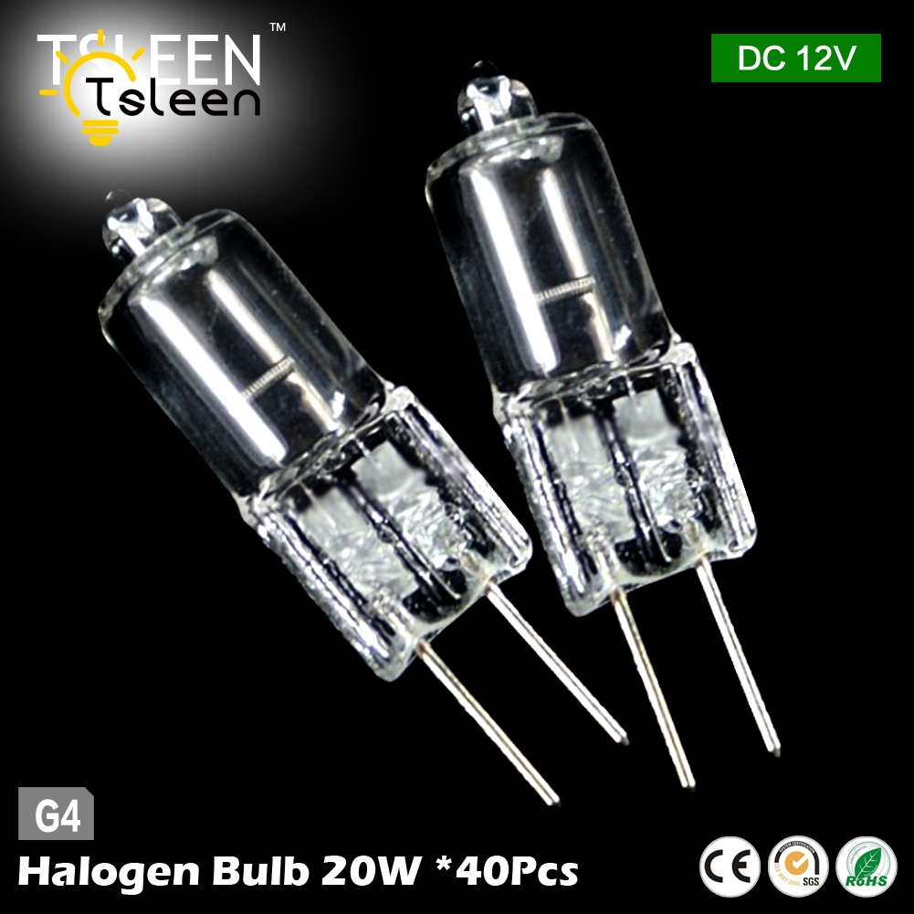 TSLEEN 40Pcs/Lot High Quality 12V 20W G4 Halogen Bulbs Warm White Lamp Light